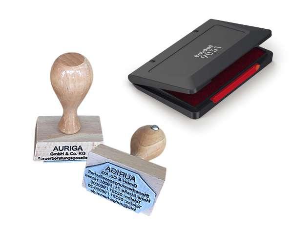 Bundle: Holzstempel 20x20 mm inkl. rotes Stempelkissen