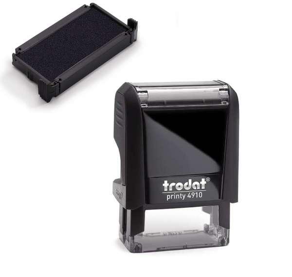 Bundle: Trodat Printy 4910 Text/Logostempel inkl. Zusatzkissen schwarz